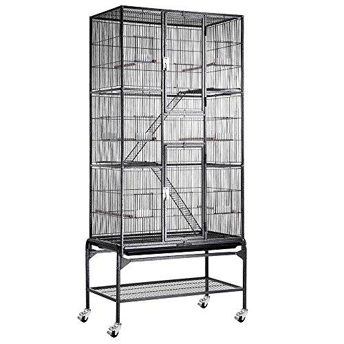 Yescom Large Storey Bird Parrot Cage Ladder Aviary Flight Black Vein