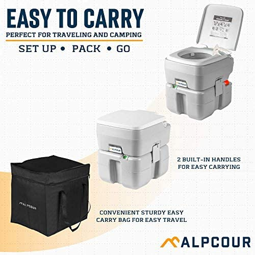 Amazon.com : Alpcour Portable Toilet – Compact Indoor & Outdoor Commode W/Travel Bag For Camping, RV, Boat & More – Piston Pump Flush, 5.3 Gallon Waste Tank, Built-In Pour Spout & Washing