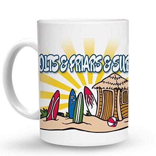 (Makoroni - BOLTS & FRIARS & SURFING Surf Surfing Mug - 11 Oz. Unique Coffee Mug, Coffee)