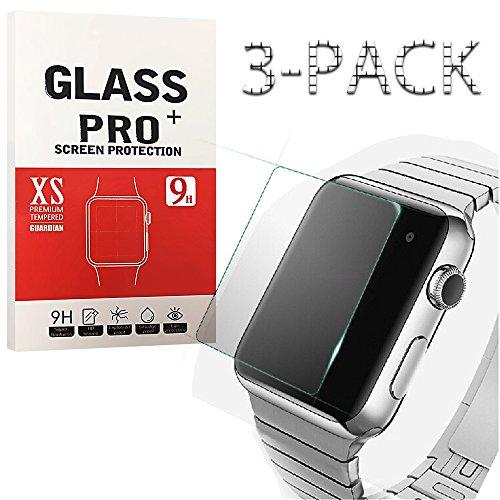 LUJI [3-PACK]Apple iWatch 3 Tempered Glass Screen Protector Anti-scratch Anti-fingerprint Bubble-free HD-clear Screen Protector for Apple iwatch (3 Pack Screen Guard)