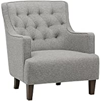 Stone & Beam Decatur Modern Tufted Accent Chair, 31W, Silver