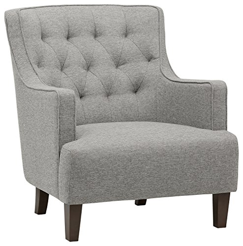 "Stone & Beam Decatur Modern Tufted Wingback Living Room Accent Chair, 32.3""W, Silver"
