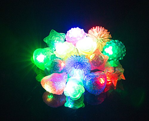 ADFOLF 36 Pack Flashing Led Bumpy Rubber Rings for Party Favors,Light Up Finger Toy