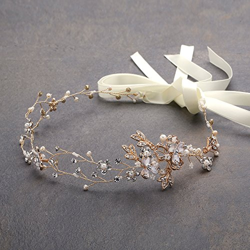 Mariell Freshwater Pearl Crystal Gold Wedding Headband Hair Vine with Ribbons Delicate Vine Design