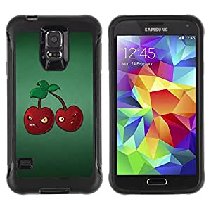 Suave TPU Caso Carcasa de Caucho Funda para Samsung Galaxy S5 SM-G900 / Angry Grumpy Cherries Red Berries Healthy Food / STRONG