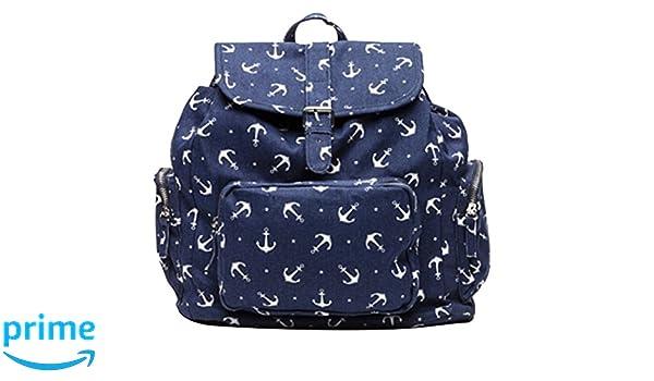 Bershka - Bolso mochila para mujer azul azul marino, blanco: Amazon.es: Zapatos y complementos