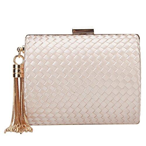 Clutch Bag Apricot - Fawziya Clutches Mini Tassel Weave Evening Clutches For Women Dress Handbags-Apricot