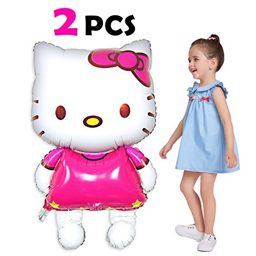 Pawliss Hello Kitty Airwalker Foil Mylar Helium Balloon Birthday Party Decoration Supplies, Large Size 33, 2 Pack