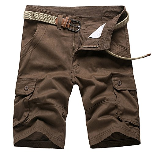 AKARMY Men's Plus Size Relaxed Fit Casual Cotton Cargo Shorts SF01 Brown 40
