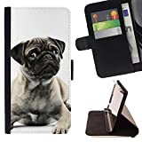 KingStore / Flip Wallet PU Leather Case Cover / Samsung Galaxy S4 IV I9500 / Pug Black White Puppy Cute Button Ear