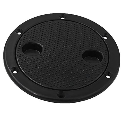 Flameer Marine Boat RV Black 6 Inch Access Hatch Cover Lid Screw Out Deck Plate