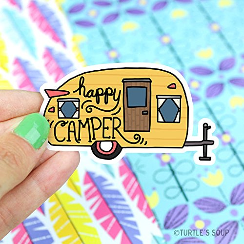 Happy Camper Vinyl Sticker Camping Travel Wanderlust Yeti