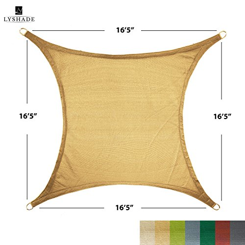 LyShade 16 5 x 16 5 Square Sun Shade Sail Canopy Sand – UV Block for Patio and Outdoor
