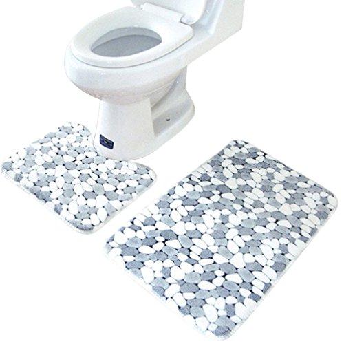 Binmer(TM)2PCS Rug Memory Foam Bathroom Rug Mat Floor Carpet Set Home Decor