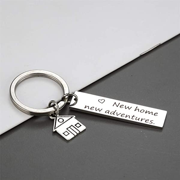 ... LiFashion LF Mens Womens Stainless Steel Personalized New Home Keychain  Necklace 635e15ae0a