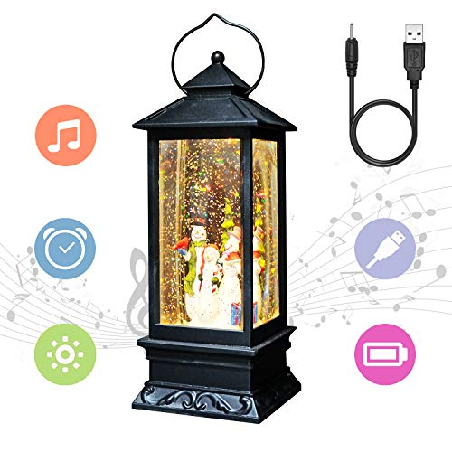 Eldnacele Snowman Christmas Snow Globe Lantern Singing and Spinning Glittering Lamp Light, 6H Timer and Plug in Sparkling Water Lantern, Christmas Home Decoration and Gift (Snowman Family)