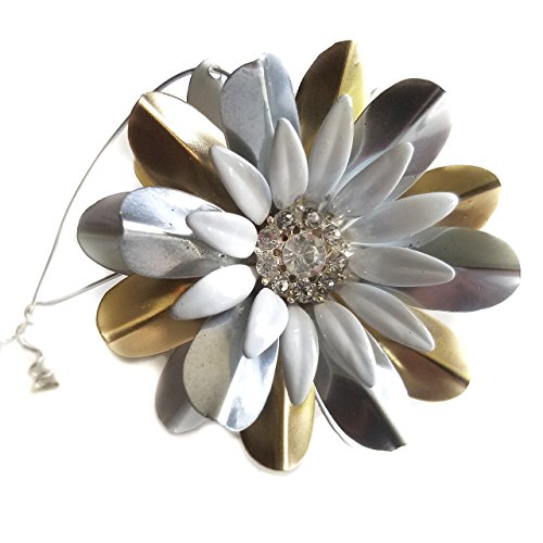 Starburst Christmas Ornament White, Gold Tone and Silver Tone