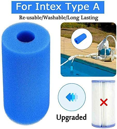 Washable Foam Cartridge Reusable Replacement Sponge Filter Sponge for Intex Type A 2PCS Swimming Pool Filter