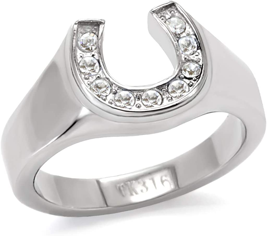 Eternal Sparkles Women's Stainless Steel High-Polished Lucky Horseshoe Ring