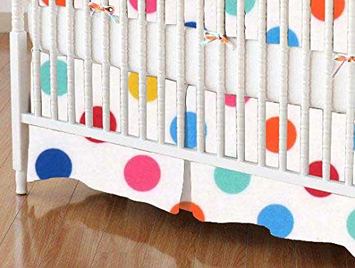 SheetWorld - Crib Skirt (28 x 52) - Primary Colorful Polka Dots Woven - Made In ()