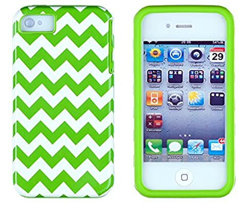 DandyCase 2in1 Hybrid High Impact Hard Green & White Chevron Pattern + Silicone Case Cover For Apple iPhone 4S & iPhone 4 + DandyCase Screen (Iphone 4 Case Preppy)