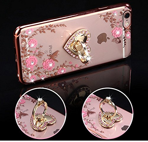 iPhone 8 Case,iPhone 7 Case,PHEZEN Pink Flower Butterfly Bling Crystal Rhinestone Diamond Rose Gold Plating Frame Crystal Clear Back TPU Bumper Case with Ring Stand Holder Kickstand for iPhone 7 4.7