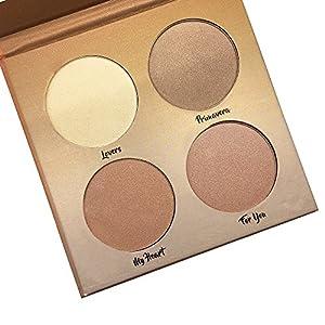 Kaidifangte 4 Color Illuminator Love Light Highlighter & Bronzer Shimmer Matte Face Palette Kit