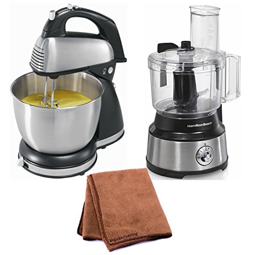 Hamilton Beach 64650 6-Speed Classic Stand Mixer, Stainless Steel with Hamilton Beach Bowl Scraper 10 Cup Food Processor and Cleaning Cloth