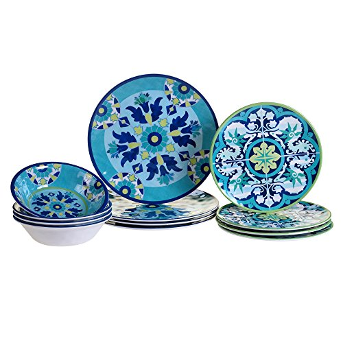 Certified International GRAN12PC Granada Melamine 12 pc Dinnerware Set, Service for 4, Multicolored ()