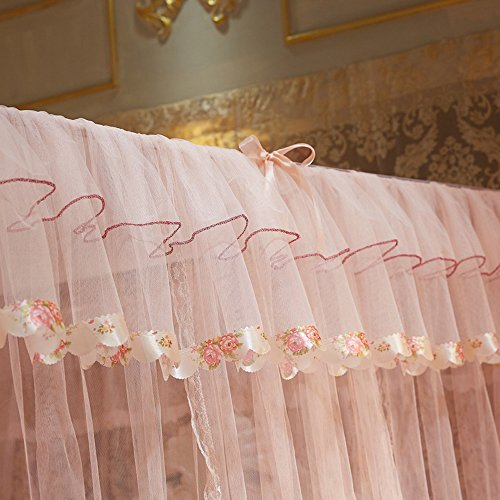 Mengersi 4 Corners Bed Curtain Canopy Mosquito Netting For Girls Bed Canopies Child Gift (Queen, Peach) by Mengersi (Image #3)