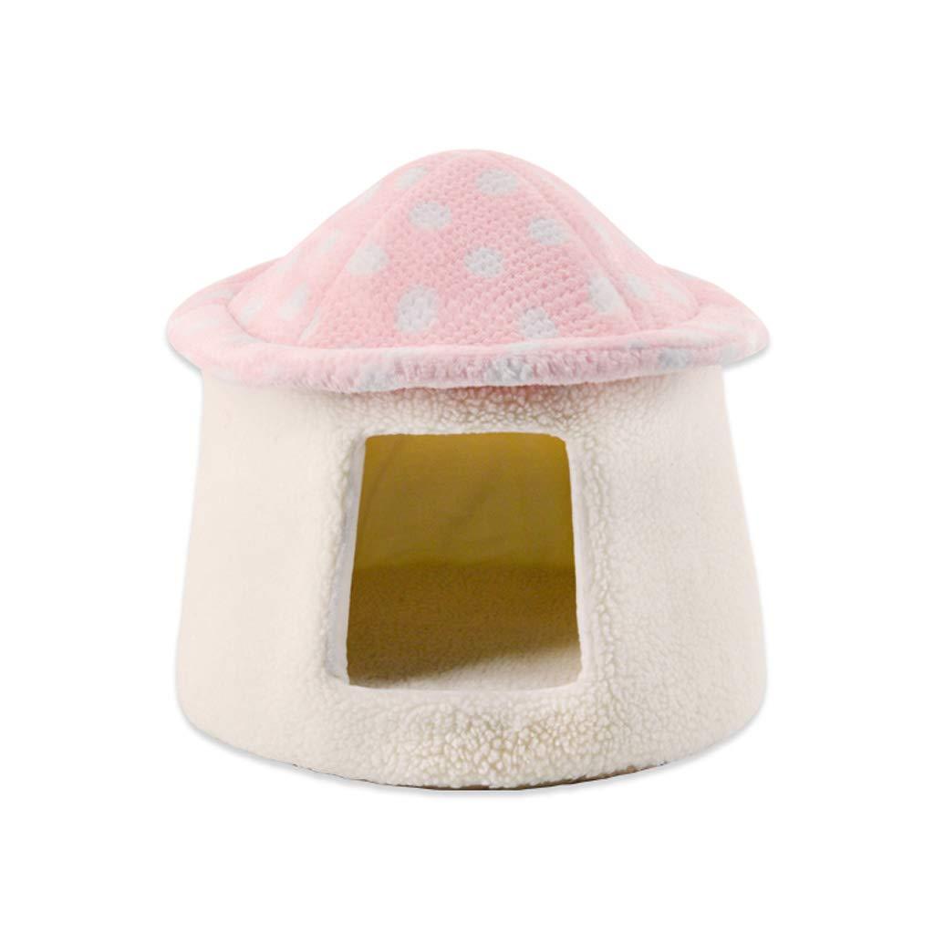 PINK C_-1X Mushroom Cat Litter, Pet Nest, Cat Sleeping Bag, Cat Tent, Cat House, Yurt Cat Litter, Kennel, Warm, Windproof, (Pink   36  35cm) (color   Pink)