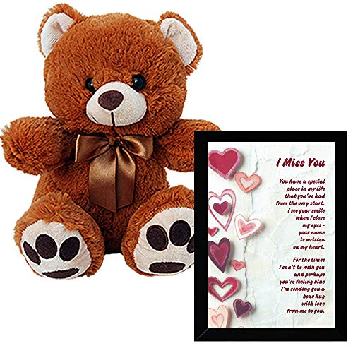 I Miss You Gift - Touching Poem in Frame with Hearts and Plush Teddy Bear