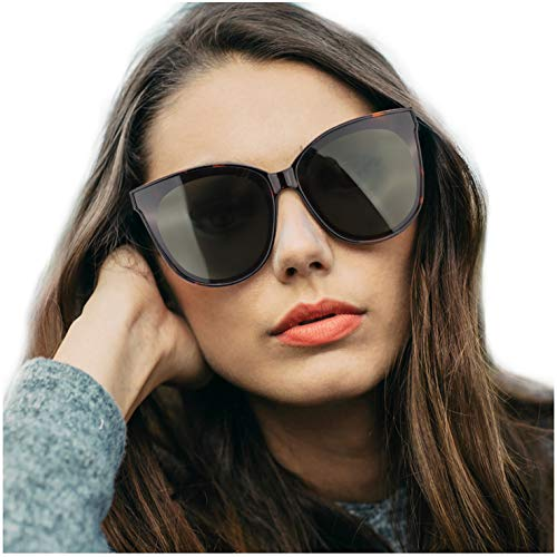 LVIOE Cat Eyes Sunglasses for Women, Polarized Oversized Fashion Vintage Eyewear for Driving Fishing - 100% UV Protection (Tortoise Frame/Green Lens Cat Eyes Oversized, ()