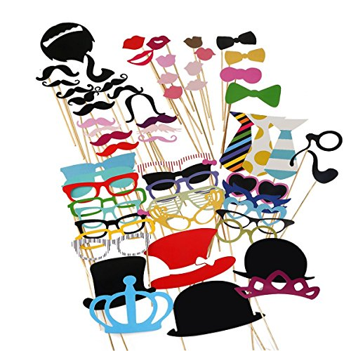 Tinksky Photo Booth Props 60 piece DIY Kit for Wedding Party Reunions Birthdays Photobooth Dress-up Accessories & Party Favors, Costumes with Mustache on a stick, Hats, Glasses, Mouth, Bowler, -