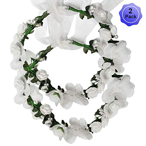 Flower Crown Headband Wreath Garland Hair Bands Floral Wedding Bridal Hair Hoop Women Leaf Ribbon Party Decoration Headdress Headwear Christmas Handmade Headpiece Hair Accessories 2 Pack White (Headpiece Set)