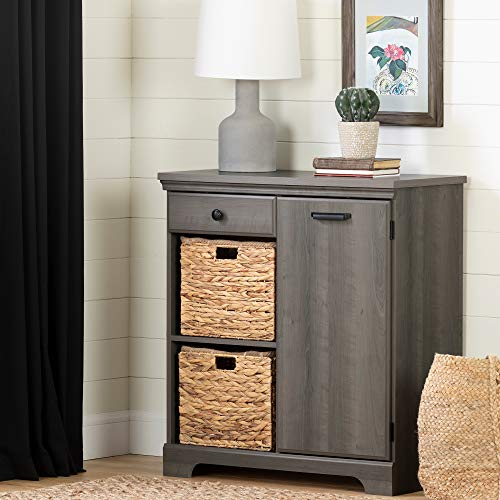 South Shore 12312 Versa 1-Door Storage Cabinet-Gray Maple