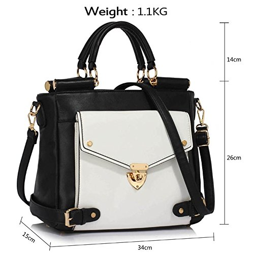 Office Clearance Faux White Handbags Top Large Business Twist Handle LeahWard Flap Sale Grab Leather Meeting 237 Tote Black Size Satchels Lock w1gn87xq4