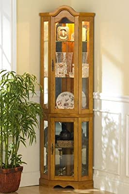 Southern Enterprises Lighted Corner Display Cabinet