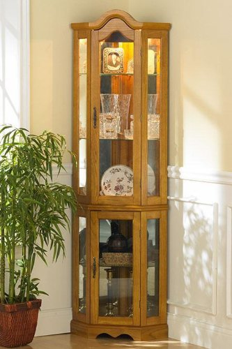 Southern Enterprises Lighted Corner Curio Cabinet  Golden Oak Finish With Antique Hardware