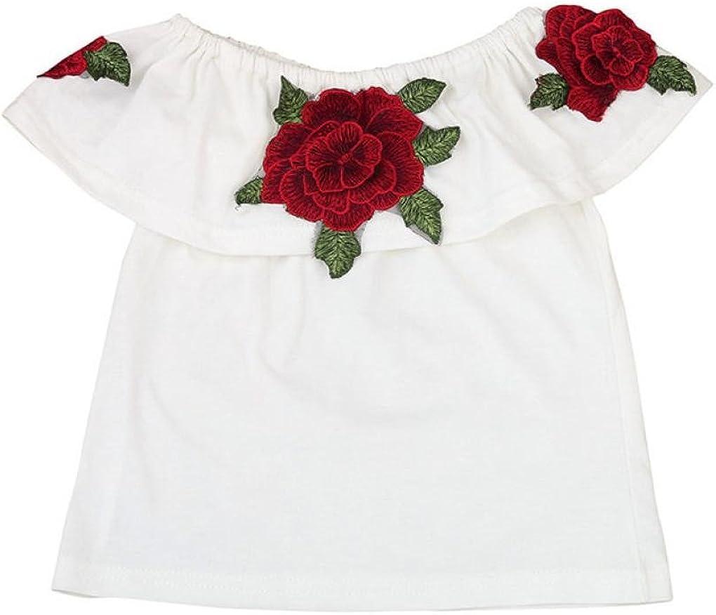 Girls Off-Shoulder Tops,KaiCran Hot Sale Kids Baby Girls 3D Rose Flower T Shirt Tops