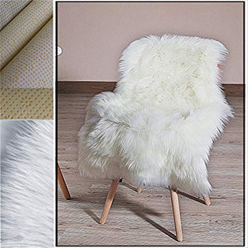 HLZHOU Fur Rug New 2019 Upgraded Non-Slip Faux Sheepskin Rug Fluffy Shaggy Rugs Faux Fur Rugs Floor Carpet for Bedrooms Living Room Kids Rooms Decoration (2 x 3 Feet (60 x 90 cm) White)