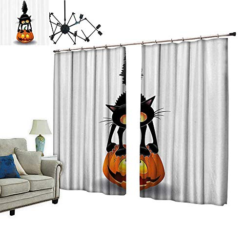PRUNUS Decorative Curtains has Hook Black Cat Pumpkin Head Spooky Carto Characters Halloween Humor Themed Machine Washable for Easy Care,W84.3 xL96.5