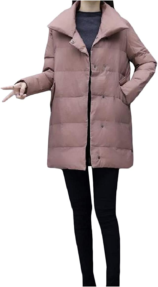 QUHSWomen Loose Quilted Keep Warm Winter Long-Sleeve Lapel Collar Anorak Jacket