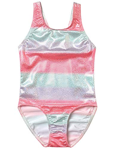 Rainbow Swimsuits Girls 10 11 One Piece Sparkle Bathing Suits for Little Kids -