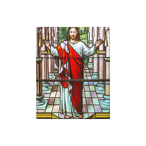 - InterestPrint Jesus Christ Stained Glass Religious Background Canvas Prints Wall Art Wood Framed Abstract Artwork Pictures for Home Office Decoration, 16 x 20 Inches
