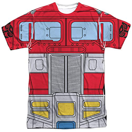 Transformers Optimus Prime Costume Unisex Adult Sublimated T Shirt for Men and Women, 3X-Large White -