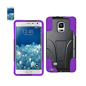Reiko Reiko Silicon Case+Protector Cover Samsung Galaxy Note Edge, Tight Fit With Built In Media Kickstand Purple Black - Retail Packaging - Purple and Black