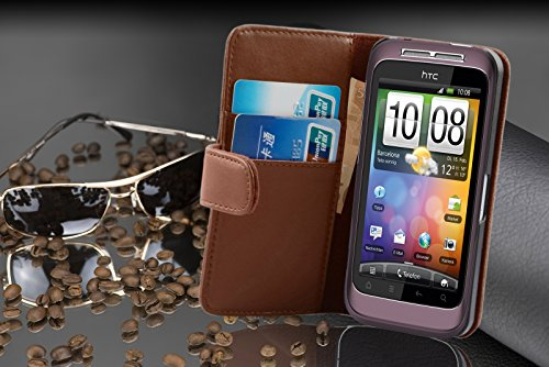 Cadorabo - Funda HTC WILDFIRE S Book Style de Cuero Sintético Liso en Diseño Libro - Etui Case Cover Carcasa Caja Protección con Tarjetero en ROJO-DE-CHILE MARRÓN-CACAO