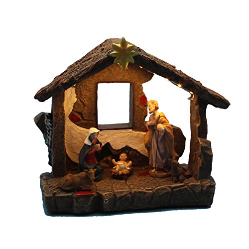 innodept12 Christmas Home Decor Nativity Scene Figurines Set and House with Warm White Led Light