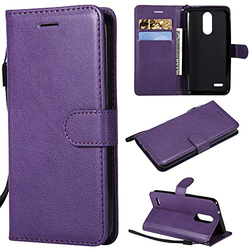 Flip Wallet Case for LG K8 2018,Gostyle LG Aristo 2 Premium PU Leather Case with Credit Card Holder,Retro Book Style Stand Cover with Magnetic Closure Hand Strap-Purple ()